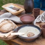 Brotklöße mit Lauchgemüse