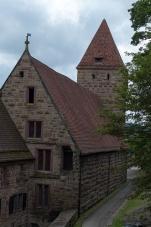 Ein ehemaliger Wehrturm, genannt der Hexenturm.