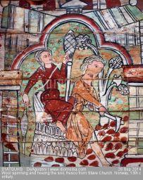 Fresko, Stave Church, Norwegen, 13. Jahrhundert